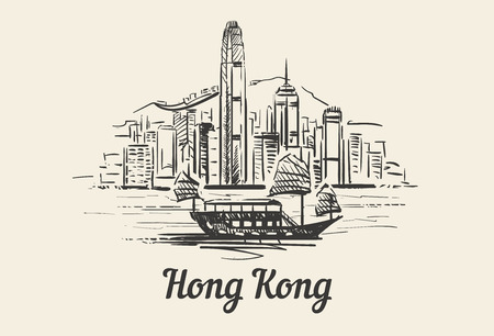 Hong Kong skyline with boat hand drawn sketch ilustration isolated on white background Ilustração