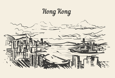 Hong Kong skyline hand drawn sketch vector ilustration isolated on white background