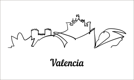 One line style Valencia sketch illustration.