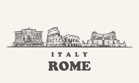 Horizon de Rome, illustration vectorielle vintage Italie, bâtiments dessinés à la main de Rome sur fond blanc.