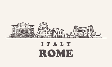 Rome skyline, Italy vintage vector illustration, hand drawn buildings of Rome on white background.