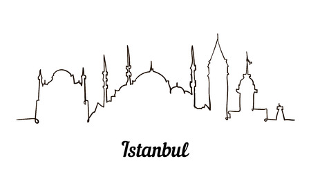 One line style Istanbul sketch illustration.