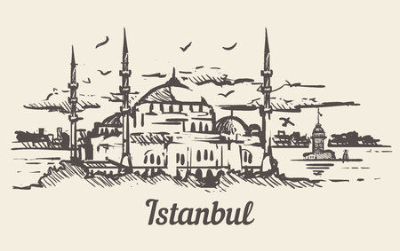 Istanbul hand drawn sketch vector illustration.The blue mosque. Illusztráció