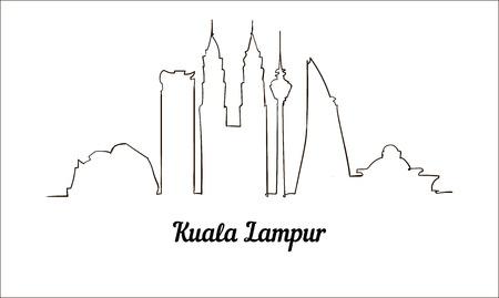 Jedna linia styl Kuala Lampur szkic ilustracji. Ilustracje wektorowe