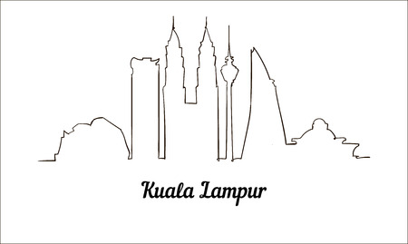 One line style Kuala Lampur sketch illustration.