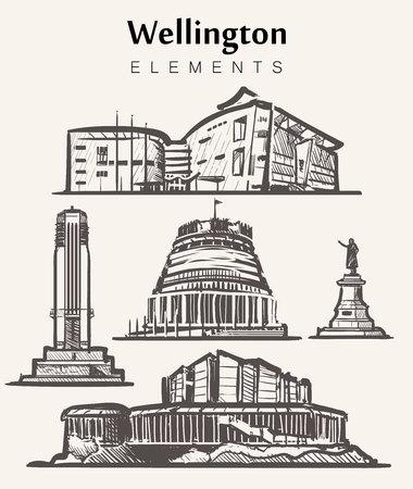Set of hand-drawn Wellington buildings.Wellington elements sketch vector illustration.Beehive,National War Memorial,Michael Fowler Centre,Te Papa Tongarewa Museum.