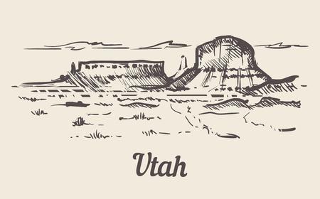 Utah skyline hand drawn. Utah sketch style vector illustration Isolated on white background.