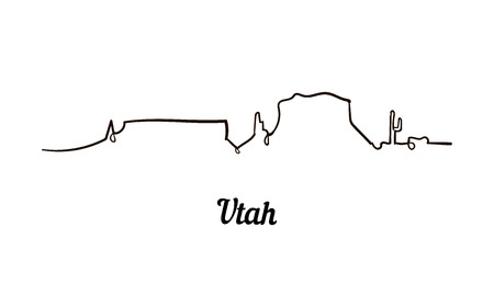 One line style Utah skyline. Simple modern minimaistic style vector Isolated on white background.