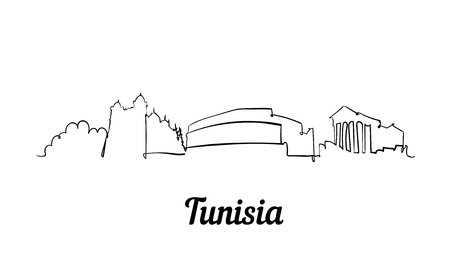 One line style Tunisia skyline. Simple modern minimaistic style vector. Stok Fotoğraf - 126082416