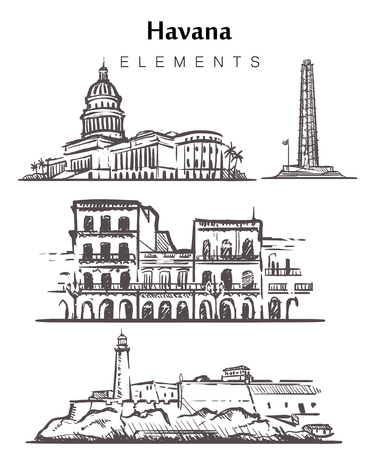 Set of hand-drawn Havana buildings.Havana elements sketch vector illustration. La Cabanya,Capitol,Jose Memorial Marty, isolated on white background. Vettoriali