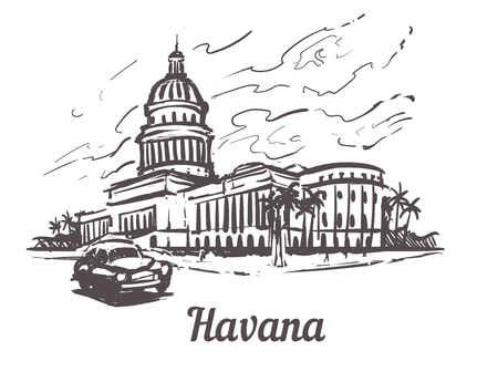 Havana hand drawn sketch vector illustration.Capitol of Havana, isolated on white background Isolated on white background. Illustration