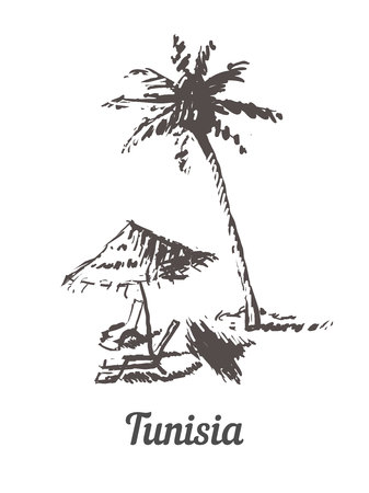 Tunisia skyline hand drawn. Tunisia palm beach sketch style vector illustration.Isolated on white background. Illustration