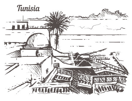 Tunisia skyline hand drawn. Tunisia sketch style vector illustration.Isolated on white background. Illustration
