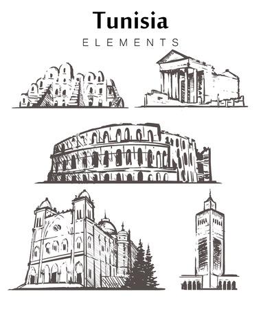 Set of hand-drawn Tunisia buildings. Tunisia elements sketch vector illustration.The amphitheatre at El JEM,Tataouine,The Saint Louis Cathedral,Al-Zaytun mosque. Illustration