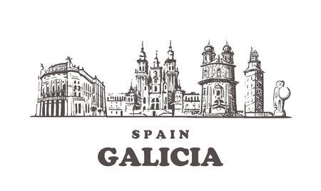 Galicia sketch skyline. Galicia, Spain hand drawn vector illustration.