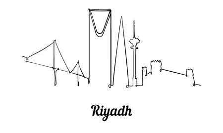 One line style Riyadh skyline. Simple modern minimaistic style vector.Isolated on white background. Illustration
