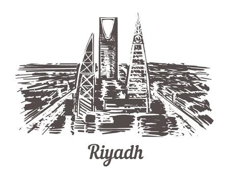 Riyadh skyline hand drawn. Riyadh sketch style vector illustration. Isolated on white background.
