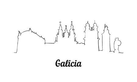 One line style Galicia skyline. Simple modern minimaistic style vector.