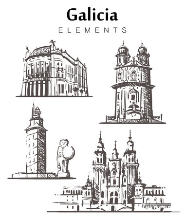 Set of hand-drawn Galicia buildings. Galicia elements sketch vector illustration.