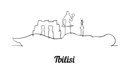 One line style Tbilisi skyline. Simple modern minimaistic style vector. Isolated on white background. Illustration