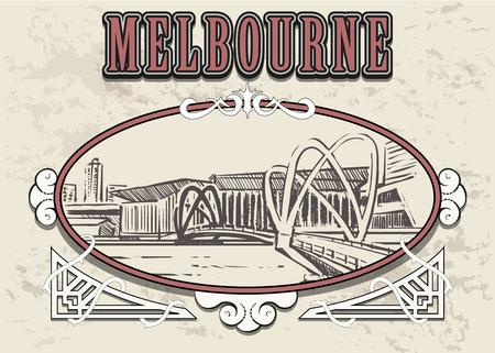 Melbourne bridge sketch. Melbourne hand drawn vector illustration in vintage frame.