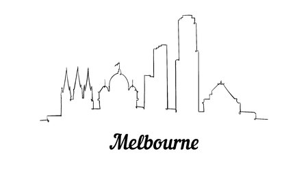 One line style Melbourne skyline. Simple modern minimaistic style vector. Isolated on white background.
