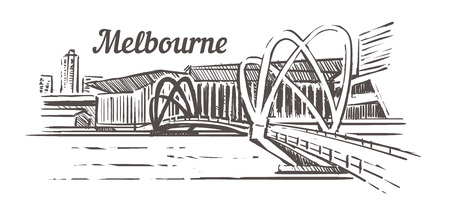 Melbourne bridge sketch. Melbourne hand drawn vintage vector illustration. Isolated on white background. Ilustração