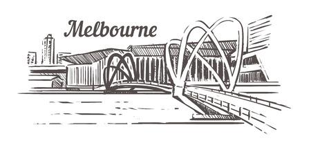 Melbourne bridge sketch. Melbourne hand drawn vintage vector illustration. Isolated on white background. Illustration