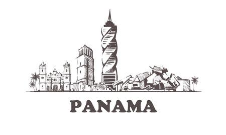 Horizon de croquis de Panama. Illustration vectorielle de Panama dessinés à la main. Vecteurs