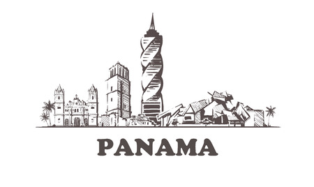 Panama sketch skyline. Panama hand drawn vector illustration. Vettoriali