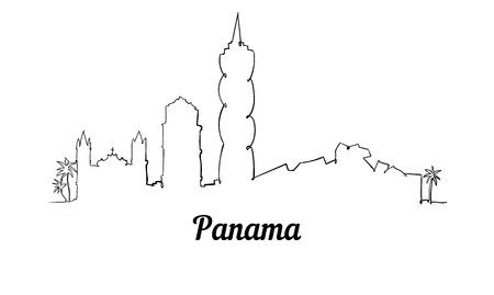 One line style Panama skyline. Simple modern minimaistic style vector.  イラスト・ベクター素材