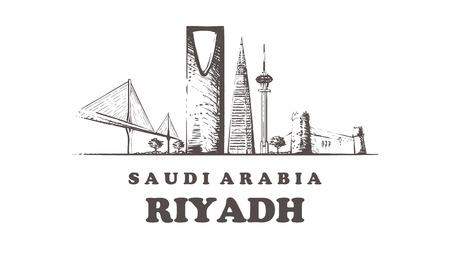Skyline de Riyad, illustration vectorielle vintage de Riyad, bâtiments dessinés à la main. Isolé sur fond blanc.