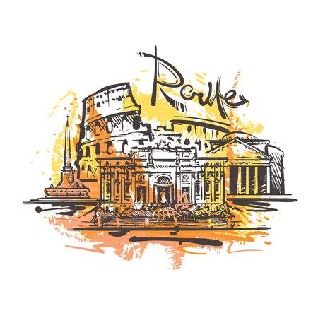 Dessin abstrait de couleur de Rome. Illustration de vecteur de croquis de Rome isolée sur fond blanc.