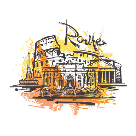 Rome abstract color drawing. Rome sketch vector illustration isolated on white background.