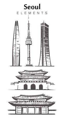 Ensemble d'éléments de bâtiments de Séoul dessinés à la main croquis illustration vectorielle.