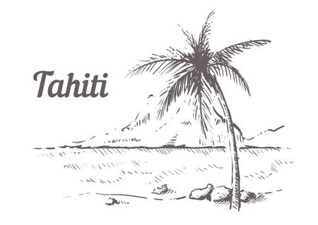 Palm Beach Tahiti hand drawn. Tahiti sketch vector illustration, isolated on white background.
