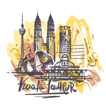 Dibujo de color abstracto de Kuala lampur. Ilustración de vector de boceto de Kuala lampur aislado sobre fondo blanco. Ilustración de vector