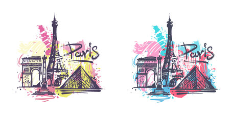 Paris abstract color drawing. Paris sketch vector illustration isolated on white background.