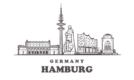 Hamburg sketch skyline. Germany, Hamburg hand drawn vector illustration. Isolated on white background. Illustration