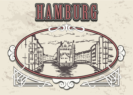 Hamburg Speicherstadt sketch. Hamburg hand drawn vintage vector illustration. Isolated on white background. Illustration