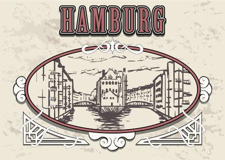 Hamburg Speicherstadt sketch. Hamburg hand drawn vintage vector illustration. Isolated on white background. 일러스트