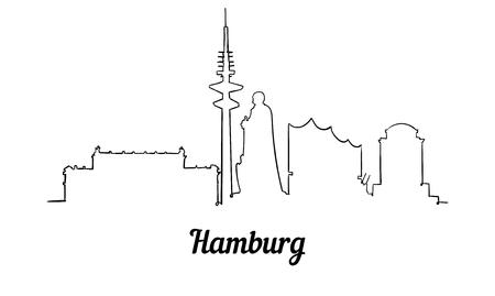 Hamburger Skyline im One-Line-Stil. Einfacher moderner minimalistischer Stilvektor. Isoliert auf weißem Hintergrund. Vektorgrafik