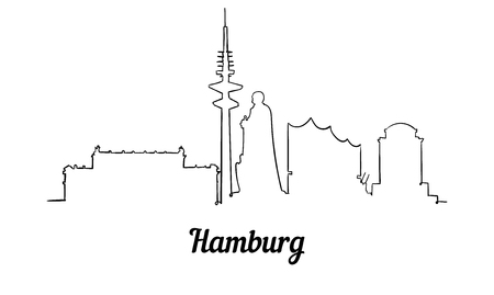 One line style Hamburg skyline. Simple modern minimaistic style vector. Isolated on white background.