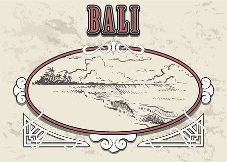 Beach with palm trees in Bali. Hand drawn sketch Bali illustration in vintage retro frame. Isolated on white background.