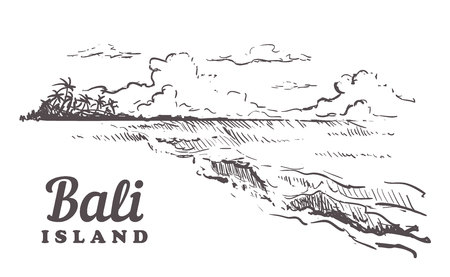 Beach with palm trees in Bali. Hand drawn sketch Bali illustration Isolated on white background. Иллюстрация