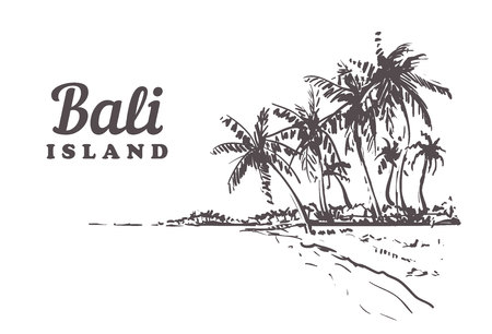 Beach with palm trees in Bali. Hand drawn sketch Bali illustration Isolated on white background. Illustration