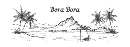 Palm Beach Bora Bora island hand drawn, sketch vector illustration isolated on white background.