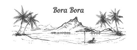 Palm Beach Bora Bora island hand drawn, sketch vector illustration isolated on white background.