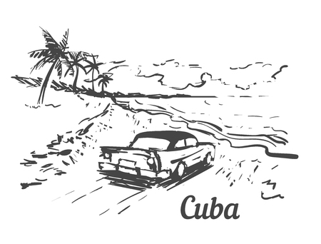 Palm Beach Cuba island hand drawn. Cuba sketch vector illustration, isolated on white background.
