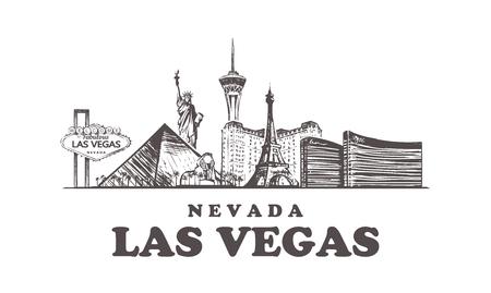Skyline von Las Vegas skizzieren. Nevada, Las Vegas handgezeichnete Vektorillustration. Isoliert auf weißem Hintergrund.